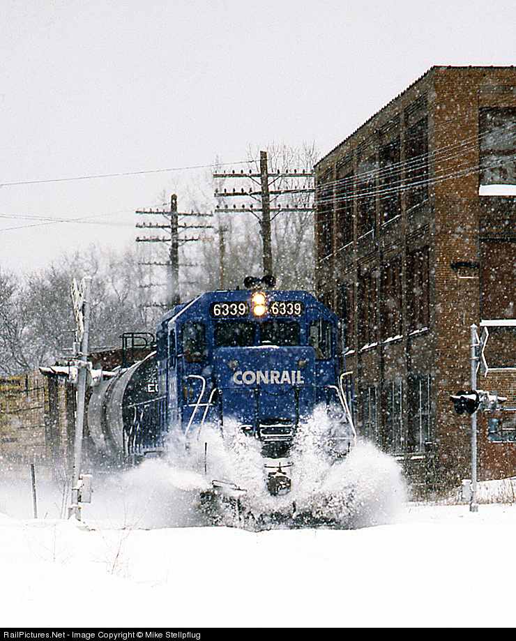 Conrail Blue Playing in the Snow